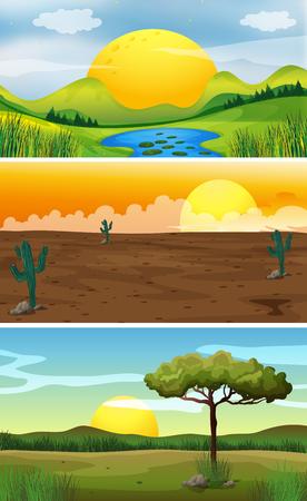 Three background scenes at sunset illustration Illustration