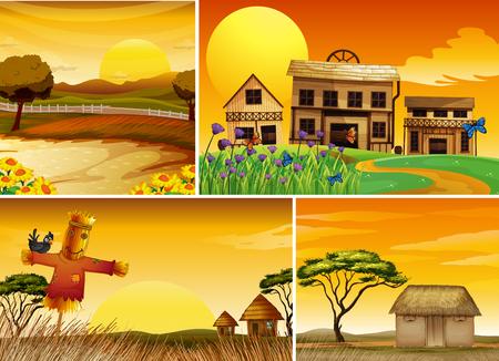 Background scenes at sunset illustration