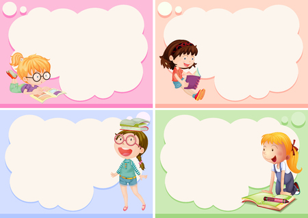 Four frames with happy girls illustration 일러스트
