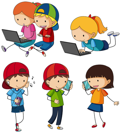 Kids doing different activities with entertainment devices illustration