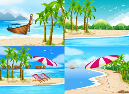 Four ocean scenes with coconut trees illustration Illustration