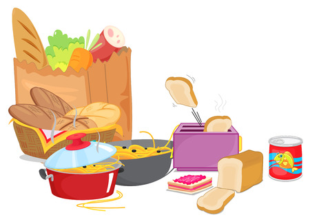Different types of food with vegetables and pasta illustration Illustration
