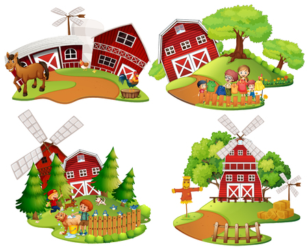 Four scenes of farmyard with people and animals illustration Illustration
