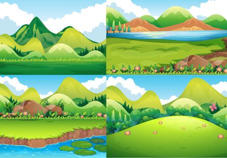 Cuatro escenas de fondo con el campo verde y la ilustración del río