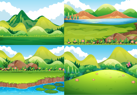 Four background scenes with green field and river illustration