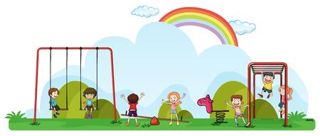 Happy children playing in playground illustration Illustration