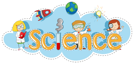Sticker template for word science illustration