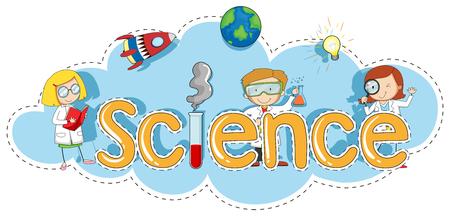 Stickermalplaatje voor de illustratie van de woordwetenschap