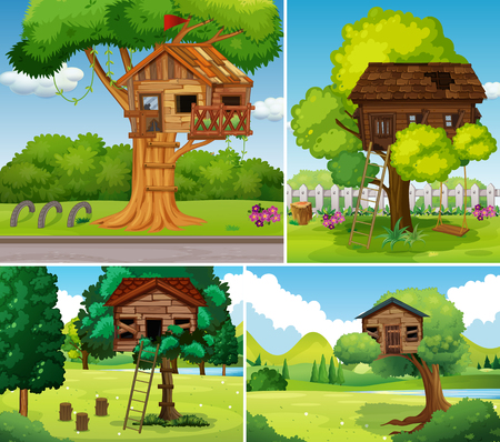 Old treehouses in the park illustration