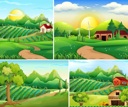 農場のイラストの4つの背景シーン  イラスト・ベクター素材