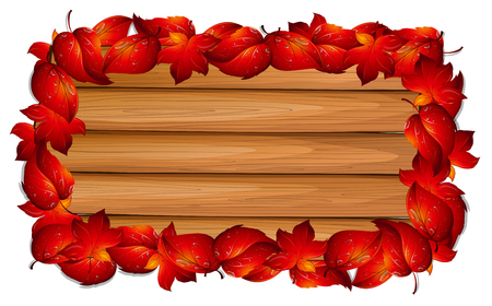 Wooden board with red leaves on border illustration