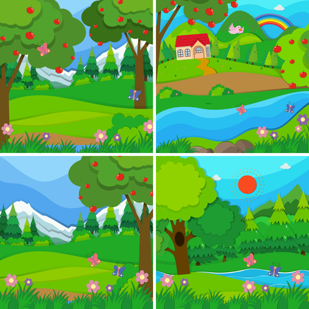 Four background scenes of orchards and woods illustration