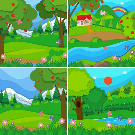 과수원과 숲 그림 네 가지 배경 장면