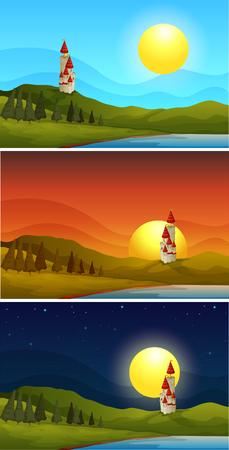 Drei Szenen mit Schlossturm zu verschiedenen Zeiten Illustration Vektorgrafik