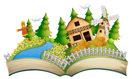 Storybook with scarecrow in the farm illustration
