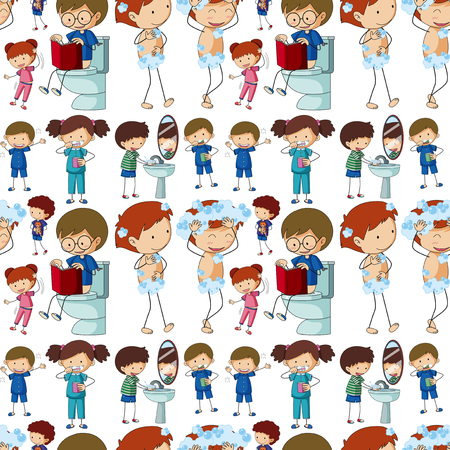 Seamless background with kids doing different routines illustration