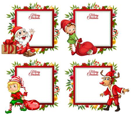 Four border template with santa and elf illustration Illusztráció