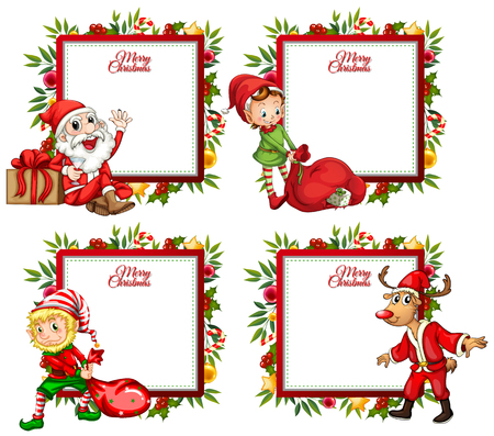 Four border template with santa and elf illustration Vectores