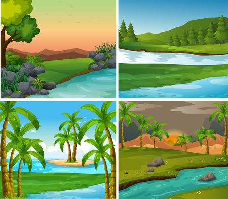 Four background scenes of rivers and field illustration Illustration