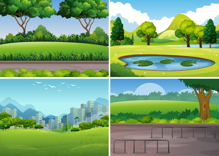Four park scenes with trees and field illustration