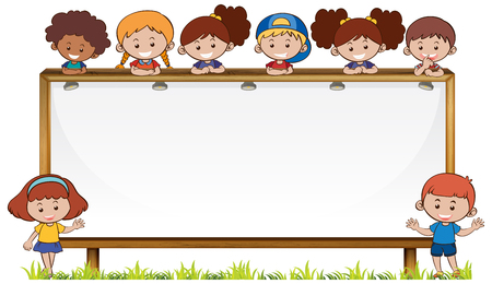 Board template with kids in park illustration. Illustration