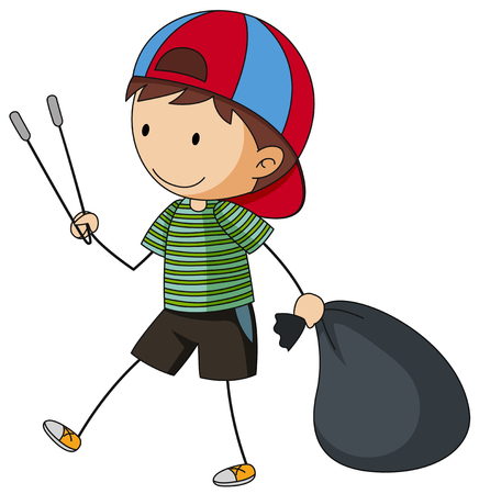 Boy with garbage bag and tongs illustration.