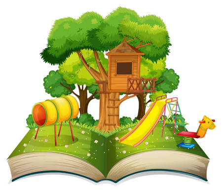 Book with playground in the park illustration. Illustration