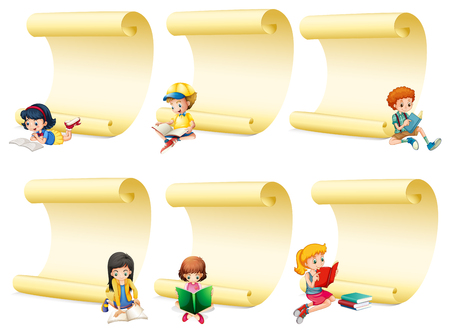 Blank papers with kids reading book illustration.