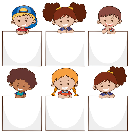 Happy kids and white papers illustration