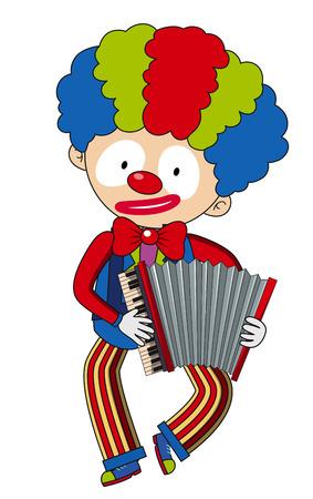 Happy clown playing accordion illustration.