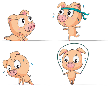 Little pig doing different exercises illustration. Illustration