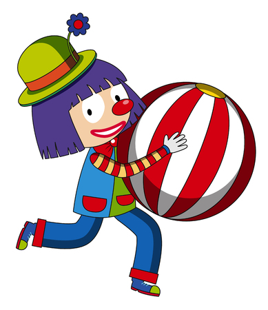 Happy clown with beach ball illustration. Illustration