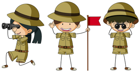 Three scouts in different actions illustration.
