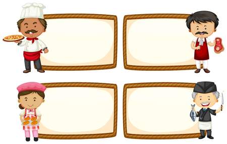 Four frame designs with chef and baker illustration.