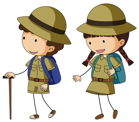 Boy scout and girl scout in brown uniform illustration.