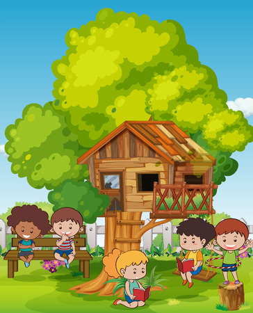 Scene with kids and tree house illustration.