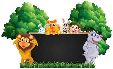 Blackboard with many animals in park illustration.