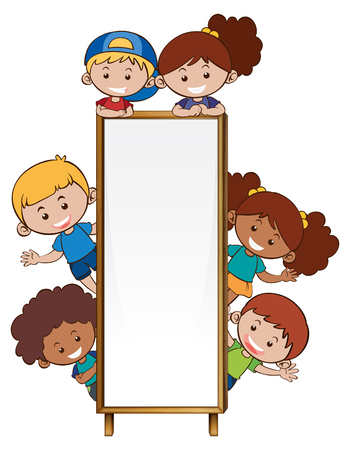 Border template with many children illustration.
