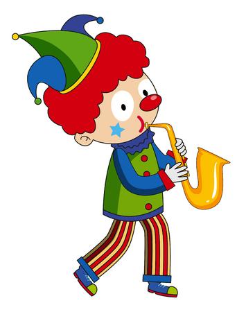 Happy clown playing saxophone illustration.