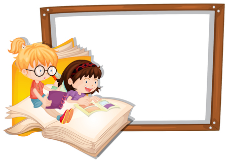 Border template with two girls reading illustration. Vettoriali