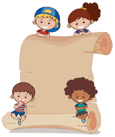 Paper background with four kids illustration.