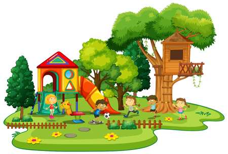Happy children playing in the playground illustration.