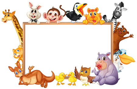 Border template with wild animals with happy face illustration.