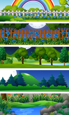 Five nature scenes with trees illustration.