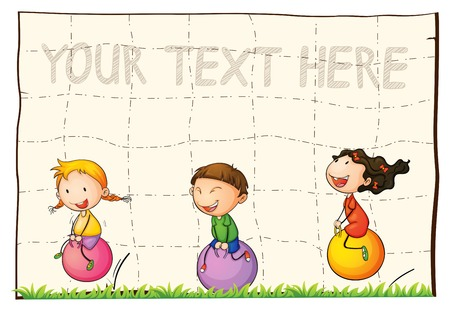 Paper background with kids on bouncing balls illustration.