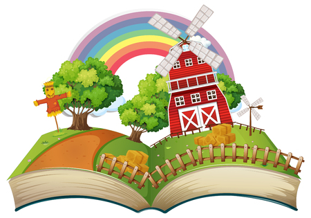 Book with farm scene at day time illustration. Illustration