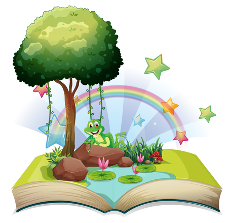 Book with green frog by the pond illustration.