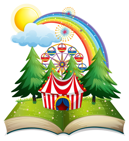 Book with circus tent in the park illustration. Illustration