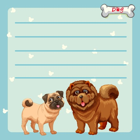 Paper design with two cute dogs illustration. Stock Illustratie
