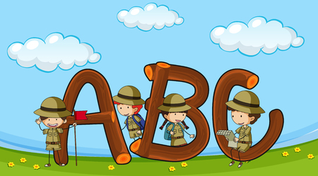 Font ABC with kids in boyscout uniform illustration